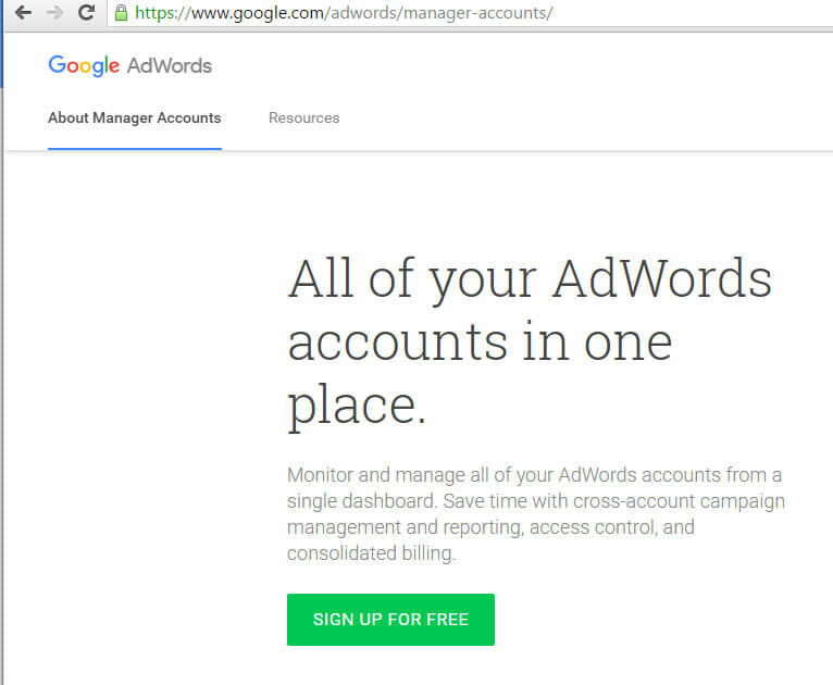 Sign Up for Google AdWords Manager Account