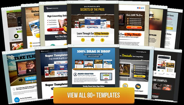 拖拉式銷售頁建構平台_提供80種範本使用,就像擁有專屬設計團隊!