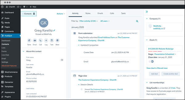 View all your contacts and CRM data inside your WordPress admin with HubSpot's free plugin.