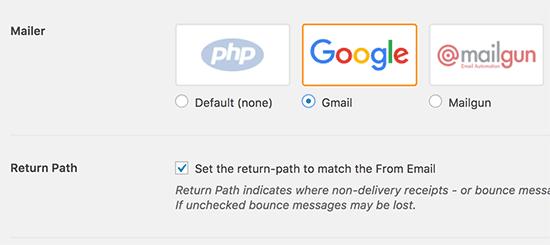 選擇Gmail並設置返迴路徑