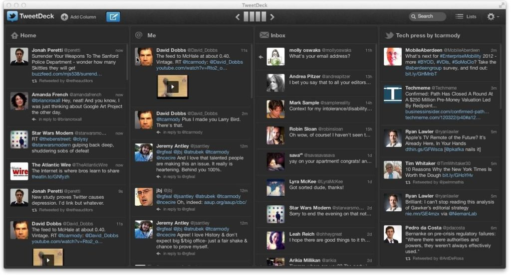 TweetDeck儀表板